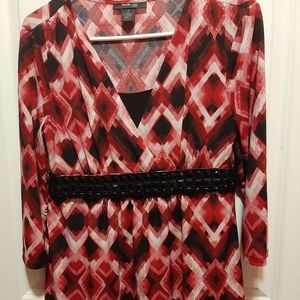 New York & Co Blinged Blouse Pink White and Black